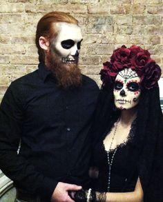 image result for dia de los muertos makeup man beard halloween costume