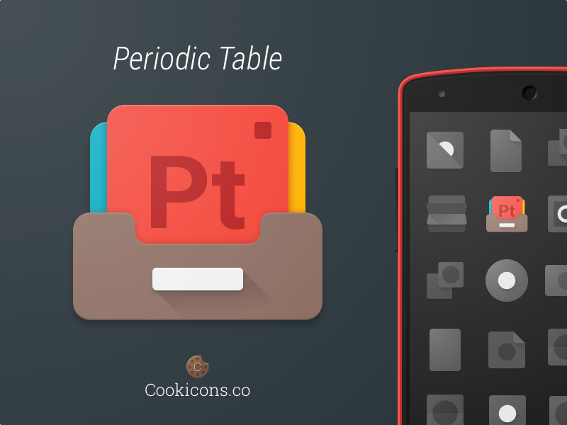 Periodic table product icon periodic table icons and android icons icon for a periodic table app dev wanted a stack of element cards in a wooden drawer pt stands for both periodic table and platinum urtaz