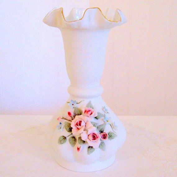 Vintage Lefton China Hand Painted Applied Roses Vase Vzy A Keramika