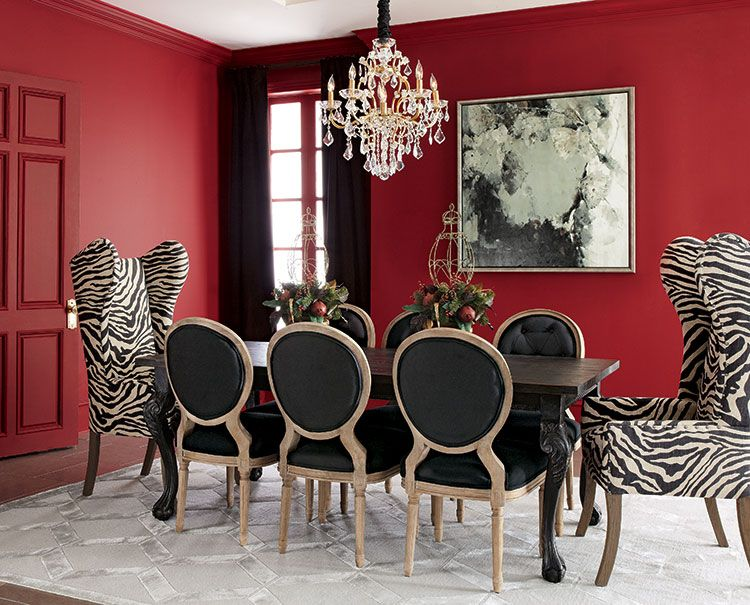 Not Sure About It With The Red Wall But A Grey Would Look Less Ty And More Chic Dining Room Ideas Decor