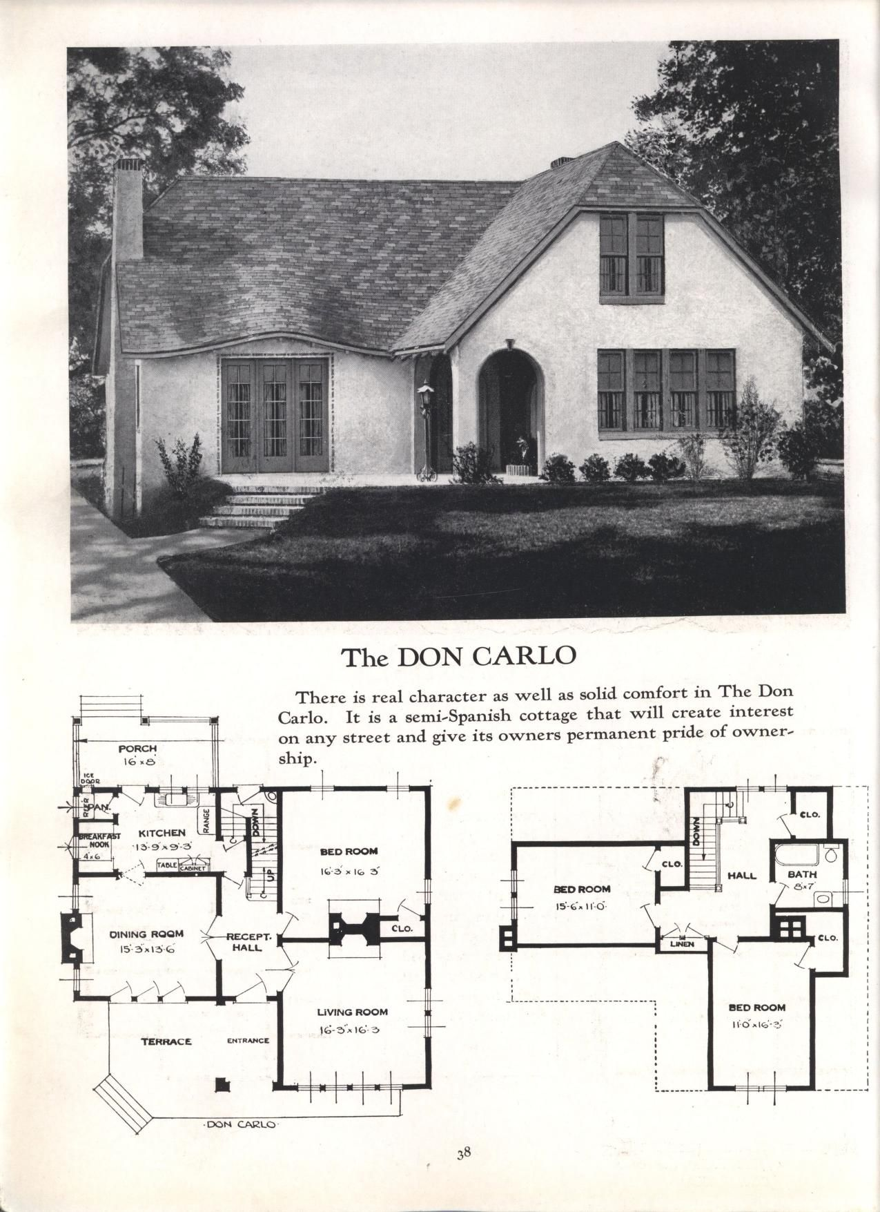 Better Homes At Lower Cost No 17 By Standard Homes Co Publication Date 1930 The Don Carlo Different House Styles House Floor Plans House Plans