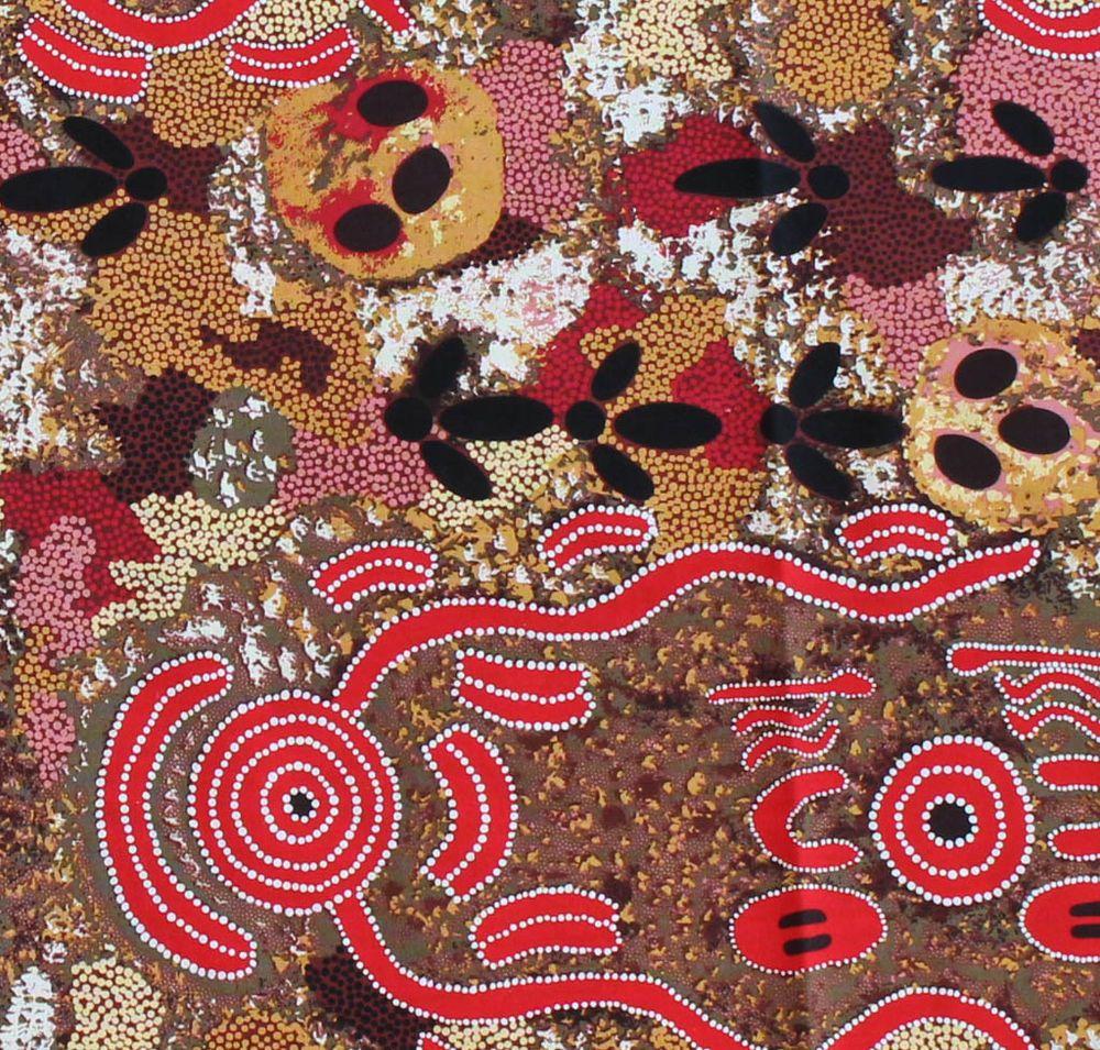 Australian aboriginal quilting fabric emu egg red by fq