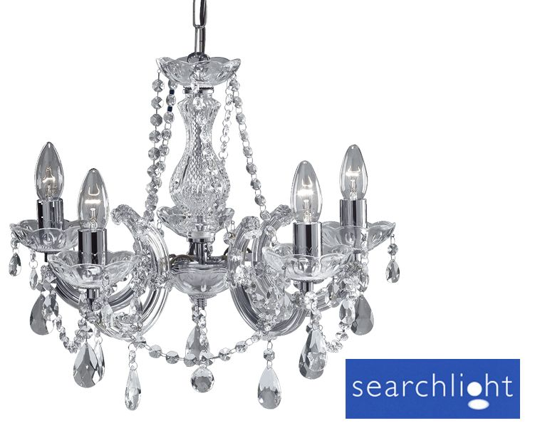 Searchlight Marie Therese 5 Light Chandelier, Polished Chrome - 399-5 None