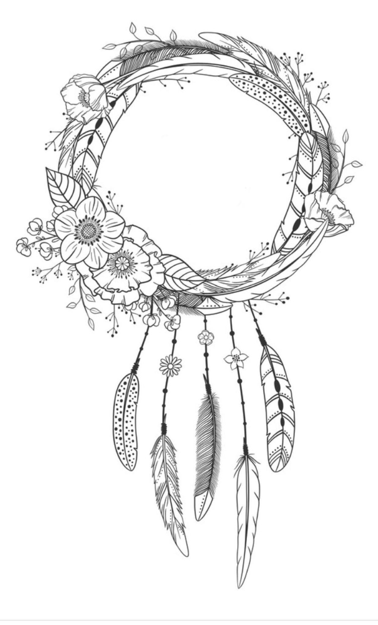 black and white dream catchers coloring pages | Dreamcatcher coloring page | Coloring pages for adults ...