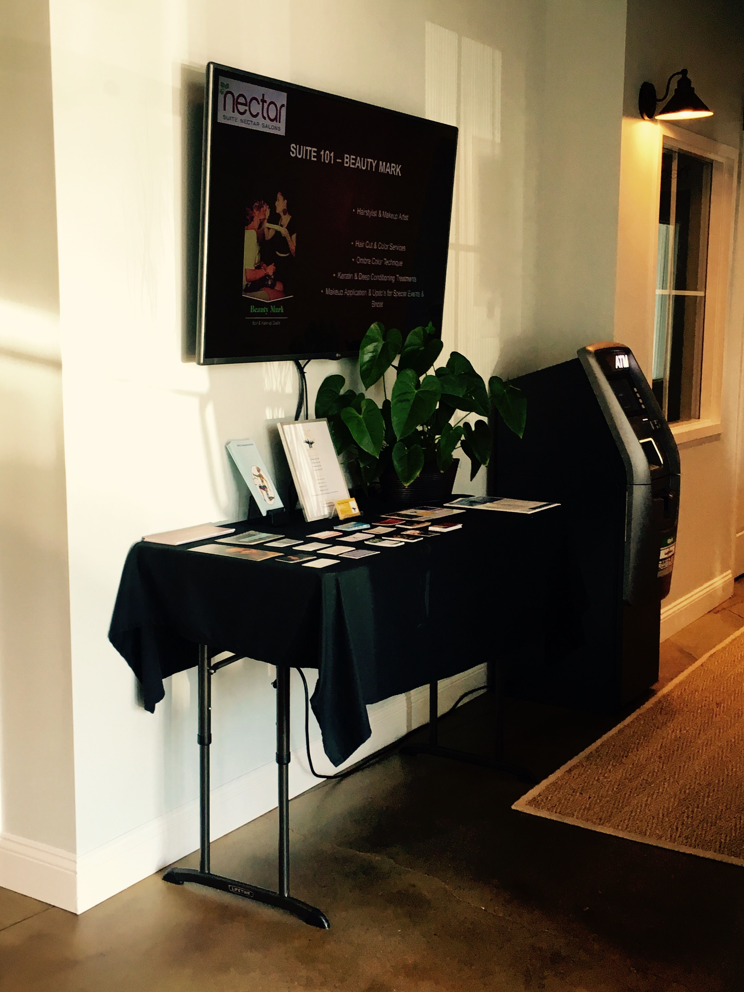 Marketing table w/ slide show relaying services offered for all individual suites at Suite Nectar. #marketingfun #healthbeauty #salonsuites #entrepreneur #beyourownboss