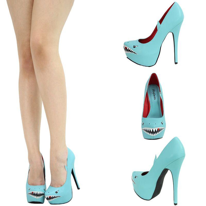 Mint Aqua Shark Face Almond Toe High Heel Platform Stiletto Women Pump  Sandal US  f5b857fe7