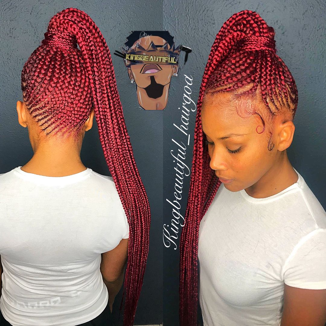 2146417255 On Instagram Red Hot Small Feedin Ponytail Braids Crownedbykingbeauti Braided Ponytail Black Hair Braided Hairstyles African Braids Hairstyles