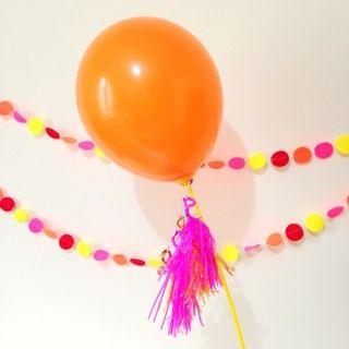 Balloon Tassel Lolli - orange and fuchsia colours - so vibrant!