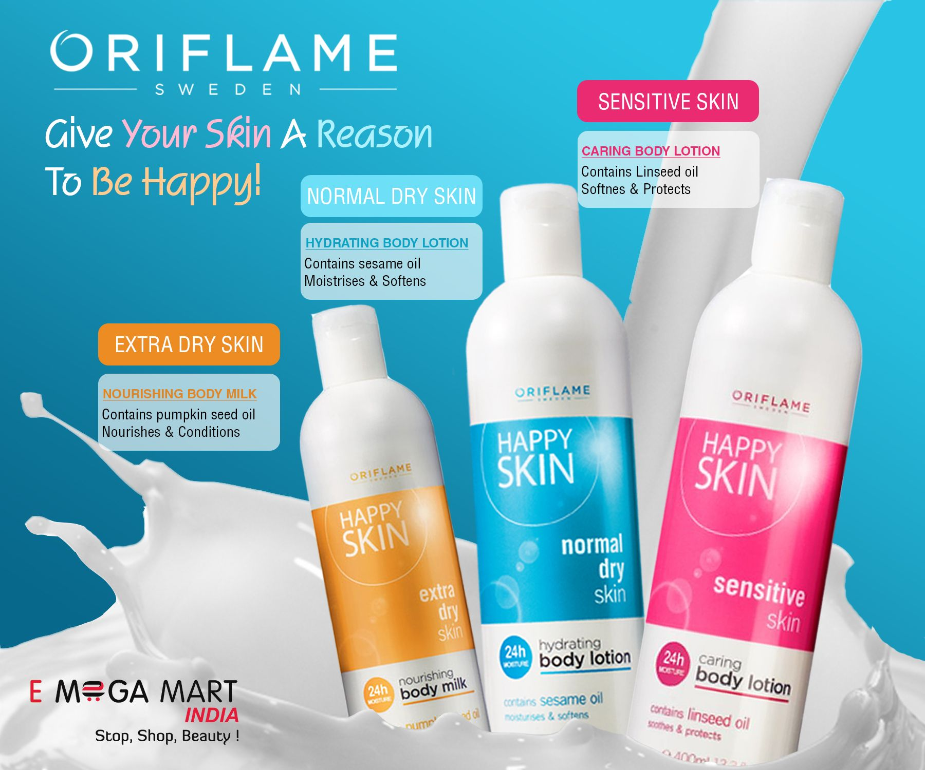 Oriflame Sweden Happy Skin The Perfect Range Of Moisturizing