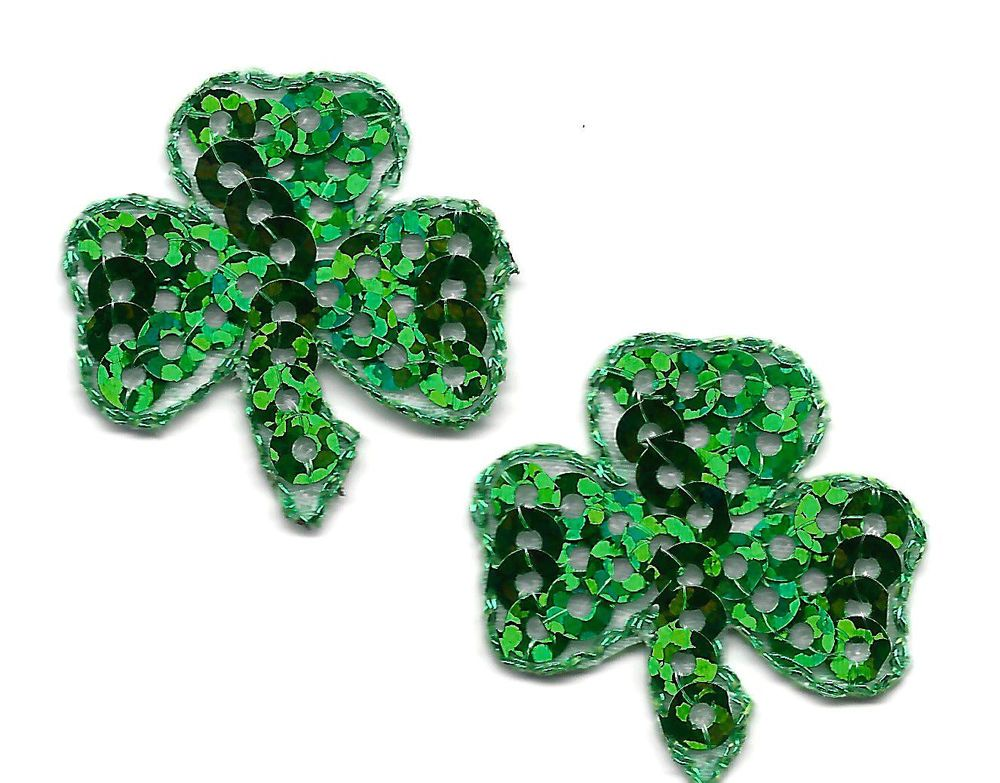 2 Gold Shamrocks Fully Embroidered Iron-On Fabric Appliqué