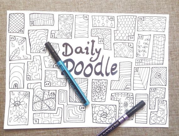 Daily doodle journal printable doodling daily journaling planner ...