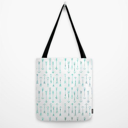 1c8789b78 Arrow Tote Bag - Teal Hand Drawn Arrows - Book Bag - Grocery Bag - 3 Sizes  - Made to Order by ShelleysCrochetOle on Etsy