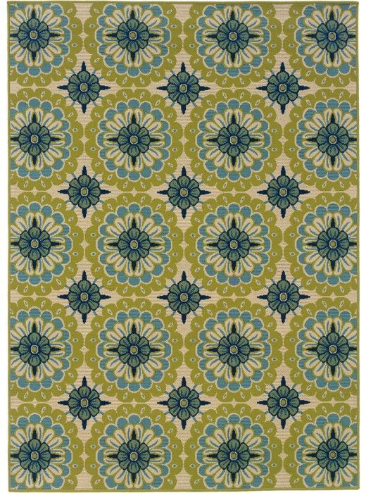 This Caspian Collection rug (8328W) is manufactured by Oriental Weavers Sphinx. Caspian is a striking new indoor/outdoor collection in trend-forward shades of indigo and Mediterranean blue and bright lime green.