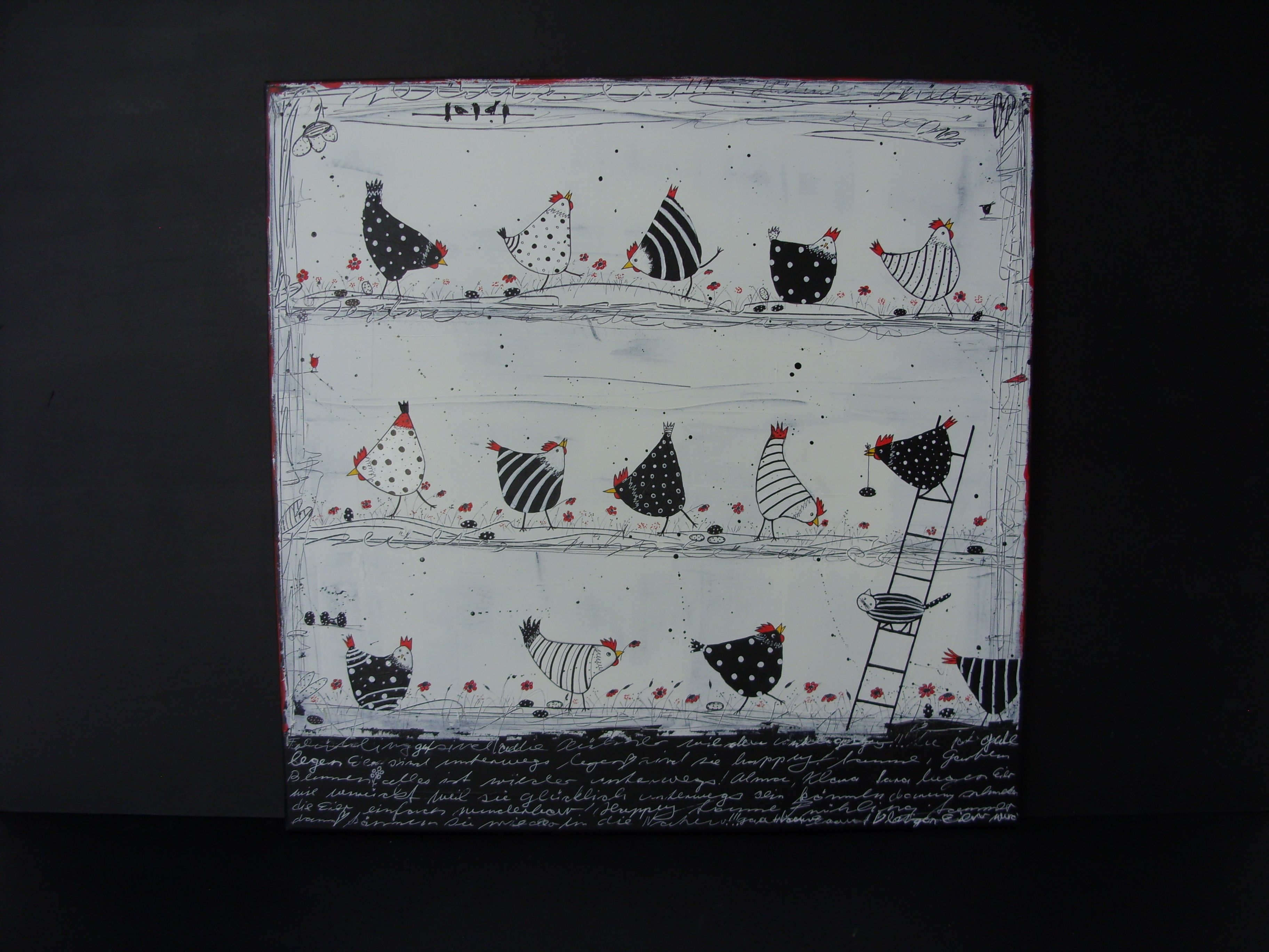 Hühner, Acryl, Mischtechnik, 40 x 40 cm