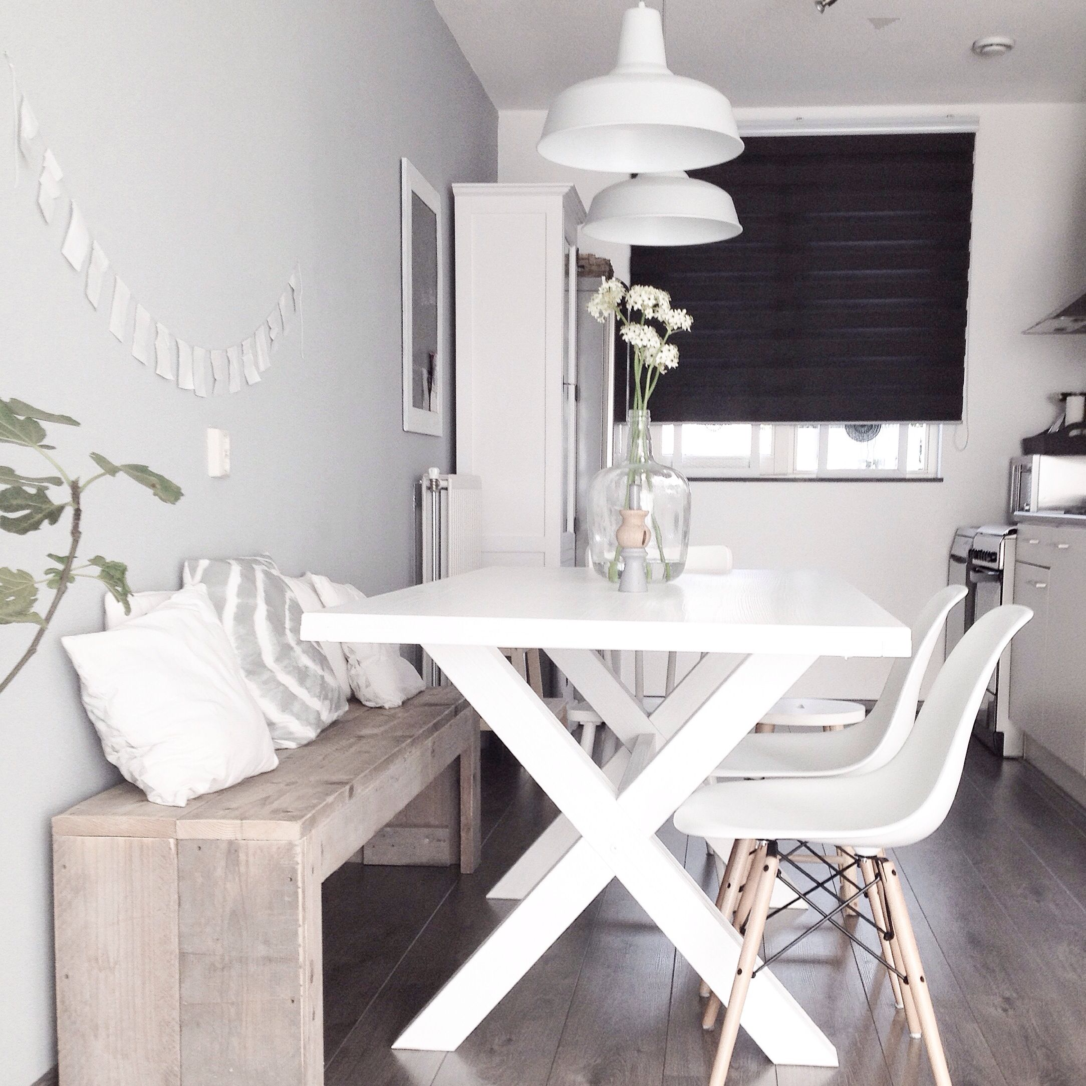 Kitchen table with bench seating and chairs  DIY Wood pallet bench kitchen nordic dining white Eames chair DSW