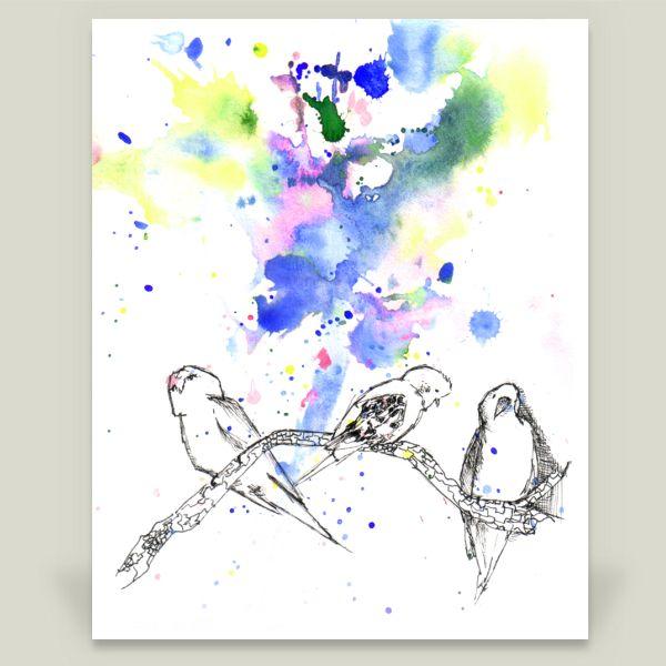 Fun Indie Art from BoomBoomPrints.com! http://www.boomboomprints.com/Product/IDILLARD/3_Birds_Perched/Art_Prints/8x10_Print/