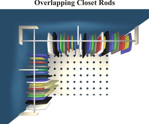 Closet Organizers Overlapping Closet Rods
