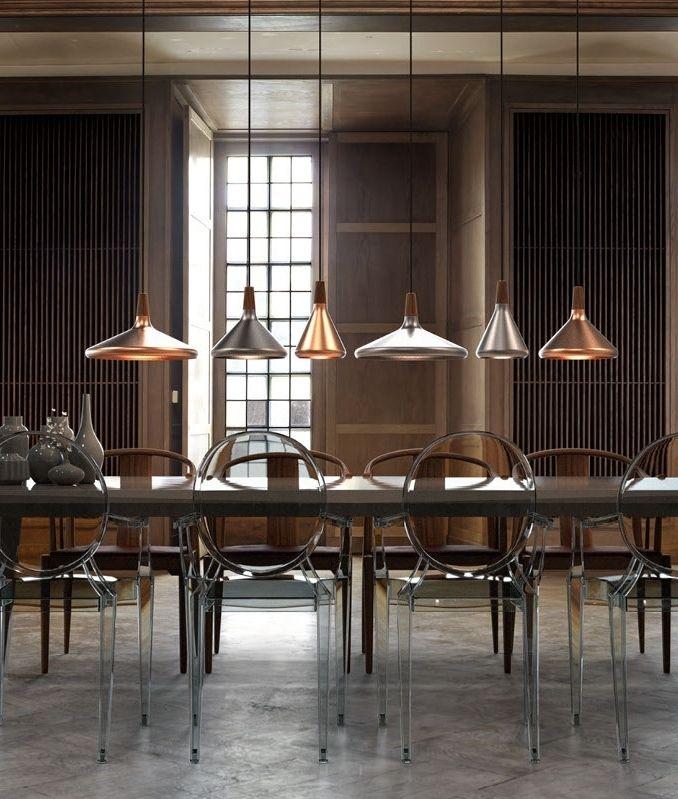 Brushed Copper & Walnut Wood Pendant Lights Over The Table  Wood Impressive Pendant Lighting For Dining Room Design Decoration