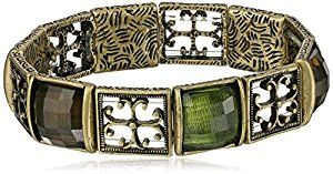 Amazon.com: 1928 Jewelry Gothic Cross Brass Tone and Olivine Stretch Bracelet: Costume Jewelry: Jewelry