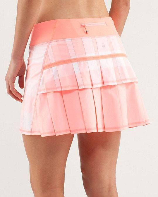 92b097b536 Lululemon Run Pace Setter Skirt $58.00 Gingham Bleached Coral/Pop Orange 2  Way Stretch Regular & Tall