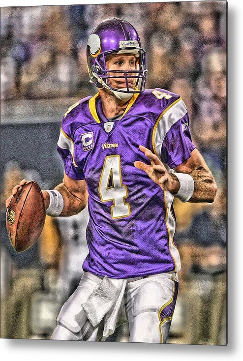 21b9ae96b Bret Favre Metal Print featuring the painting Brett Favre Minnesota Vikings  by Joe Hamilton
