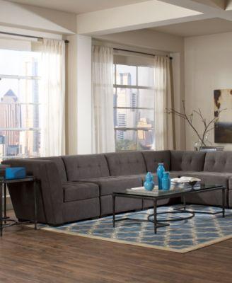 Roxanne Fabric Modular Sectional Sofa 6 Piece 2 Square Corner