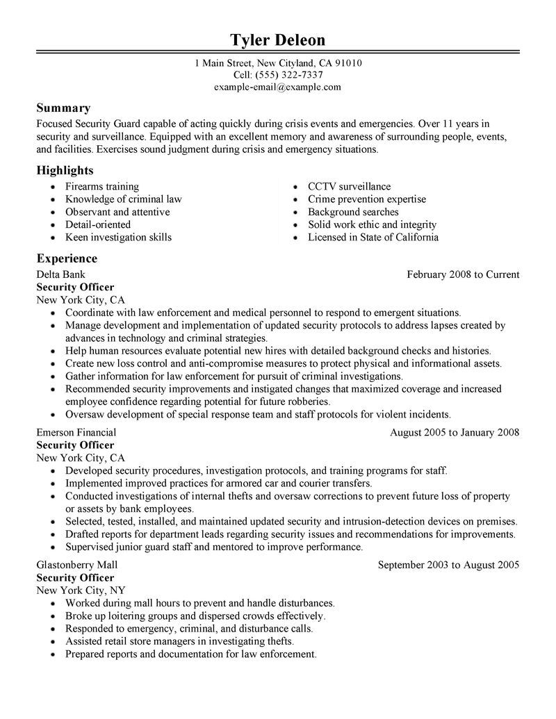 Security Guard Resume Sample Security Guard Resume Security Guard