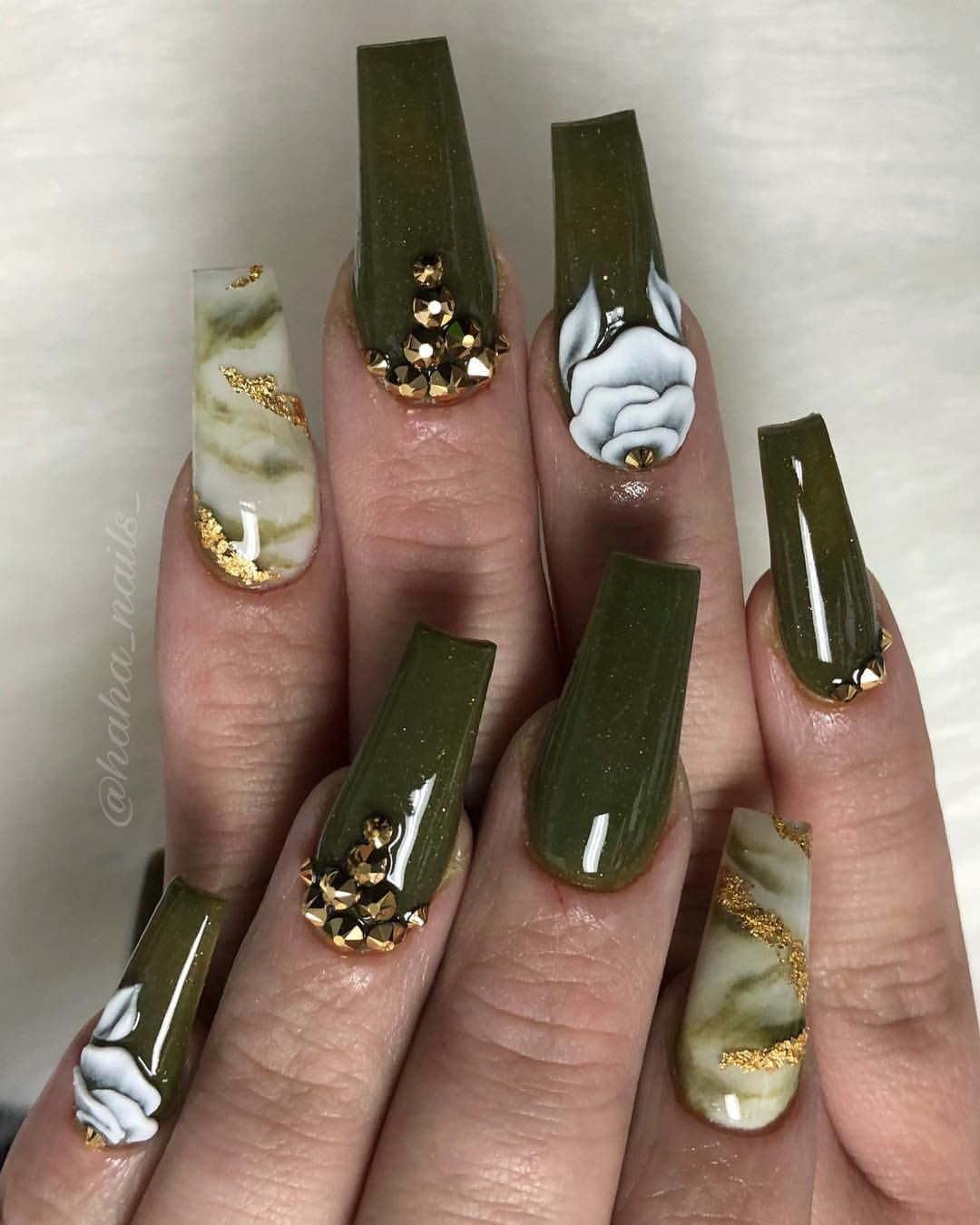 Fall nails olive green nail color 3D flowers marble nails ...
