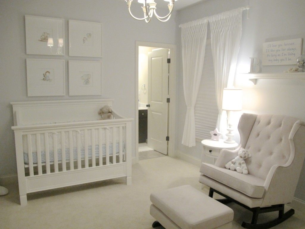 Gender Neutral All White Baby Nursery This Room Would Be Easy To Pull Off On A Budget Frames From The Dollar Painted Simple Yard End