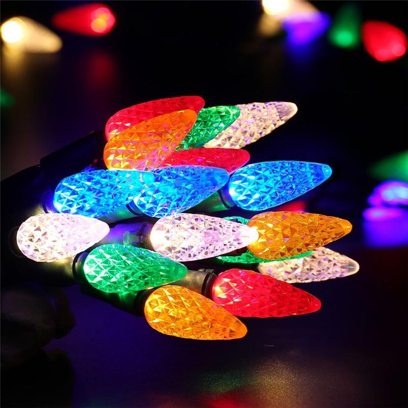 Faceted C6 LED Christmas Lights, 33ft 100 LED Bulbs in 2018