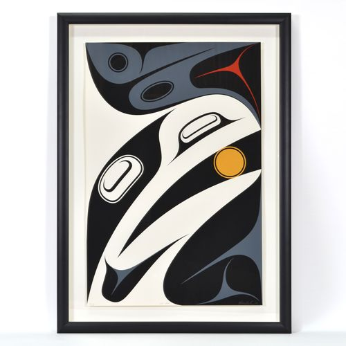 Just About, a limited edition print by Haida artist, Ben Davidson, son of internationally renowned artist Robert Davidson. This print is sold framed.