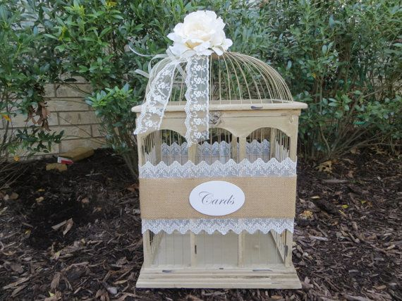 Pick your ribbon color - Large Vintage Style Wedding BirdCage Card Holder, Wedding Card Box, Money Holder, Gift Card Holder