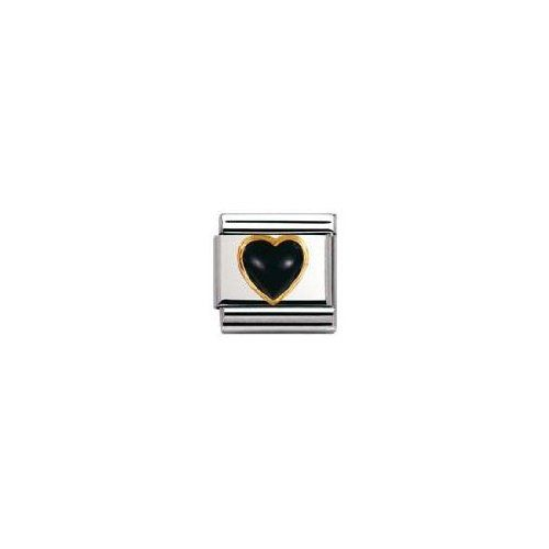 Nomination Composable Classic Gemstone Black Agate Heart made of Stainless Steel and 18K Gold KoCrp