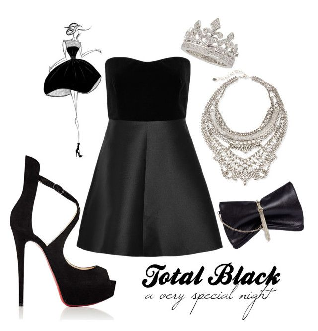 """""""Total Black - special night"""" by andrealorena-7879 ❤ liked on Polyvore featuring RED Valentino, Christian Louboutin, Garrard, DYLANLEX and Jimmy Choo"""