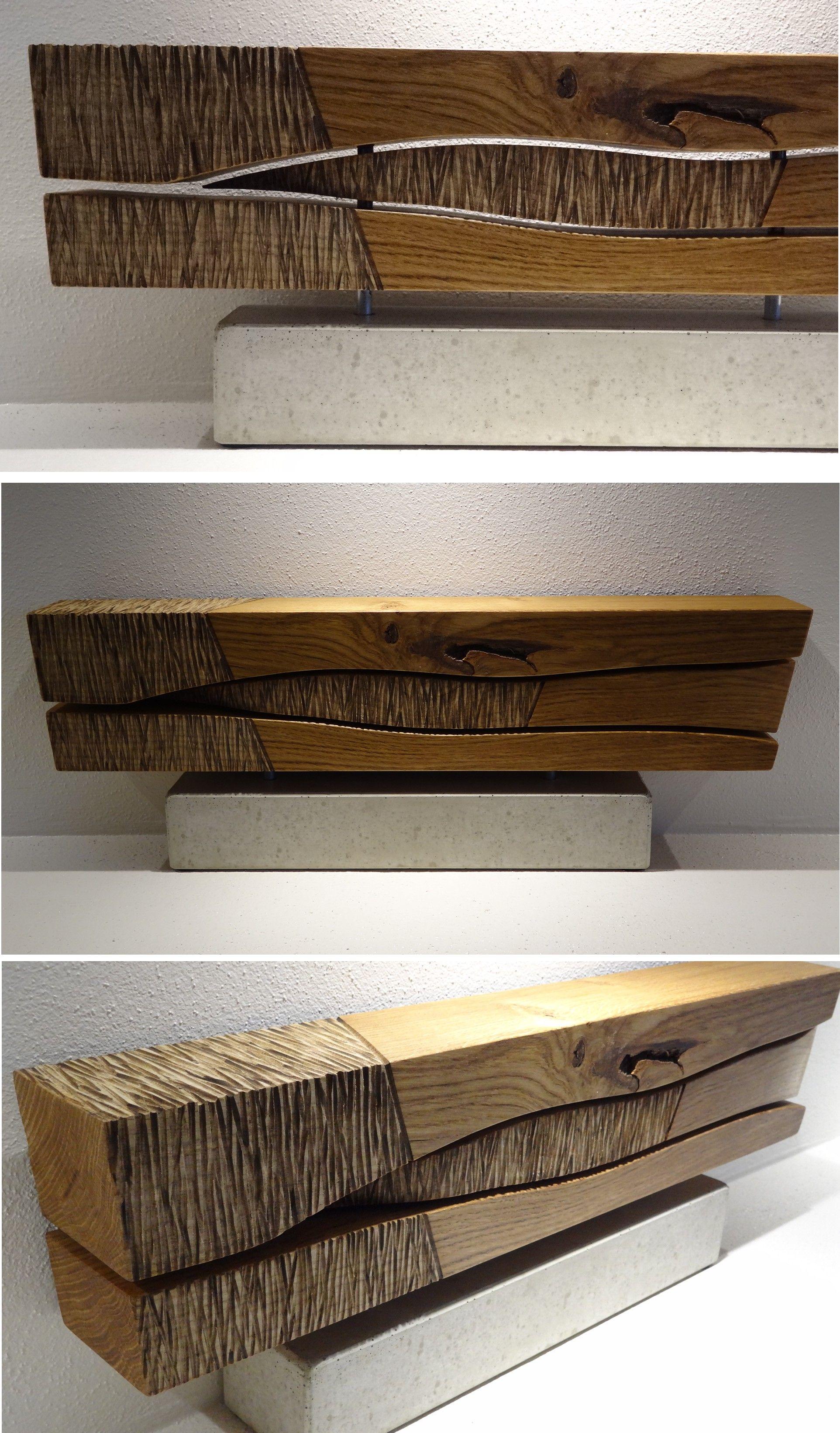 Eichenholz auf Betonsockel | Skulpturen aus Beton und Holz ...