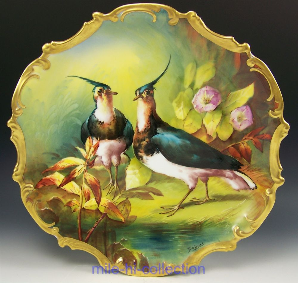 LIMOGES Charger Hand Painted GAME BIRDS Plate Platter signed COUDERT ...