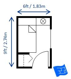 Small bedroom design for a single bed 6ft x 9ft this for Bedroom code requirements