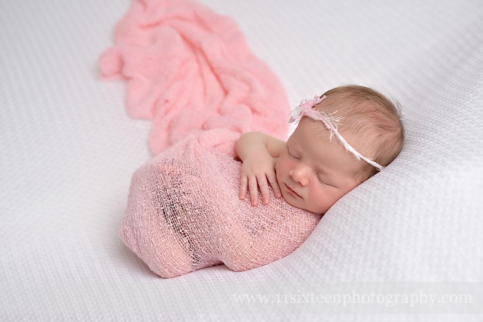 Pink stretch knit wrap newborn photography