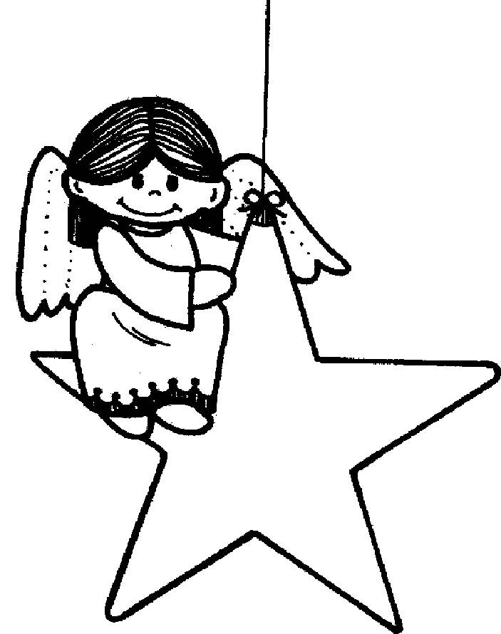 Christmas Star With Angel Cute Coloring Page