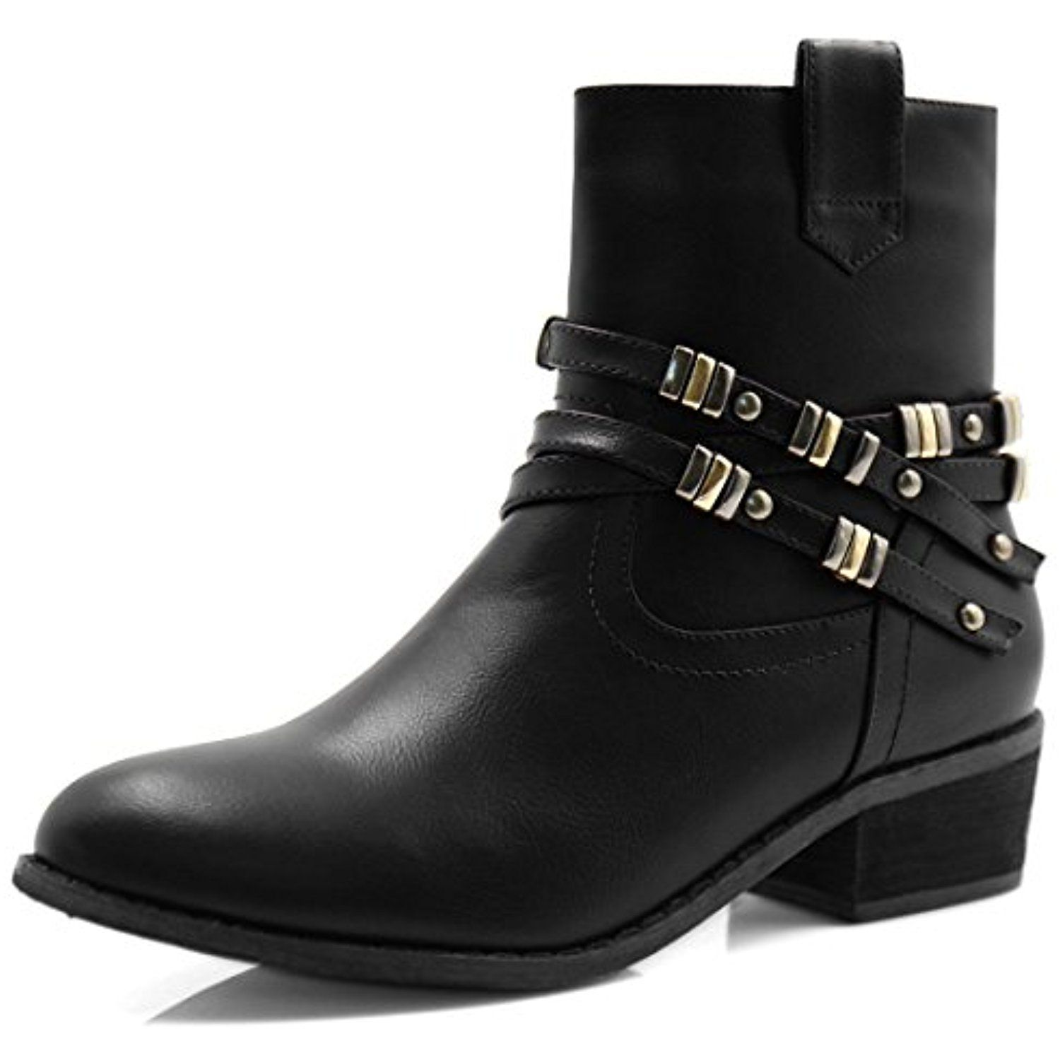 Women's Studded Straps Block Heel Zipper Motorcycle Ankle Boots