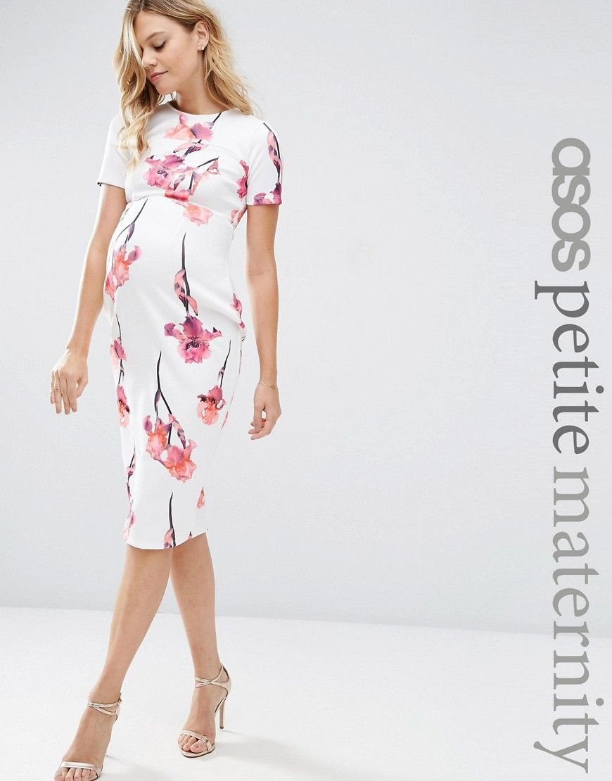 1c141adcb11 Image 1 of ASOS Maternity PETITE Scuba Pencil Dress In Red Floral ...