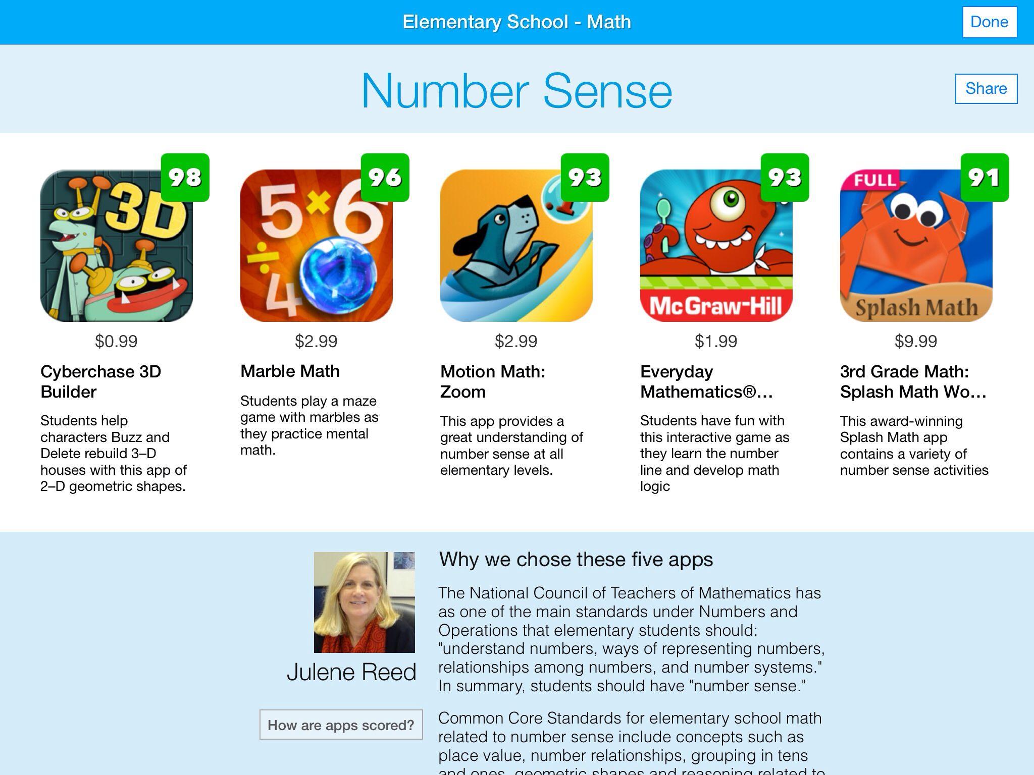 Math number sense apps elementary school math math