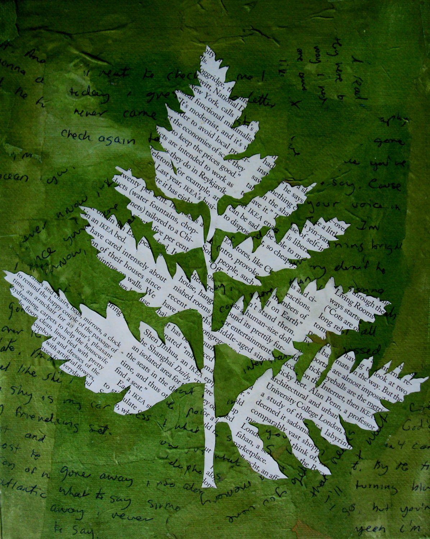 fern leaf newspaper print archival print newspaper art