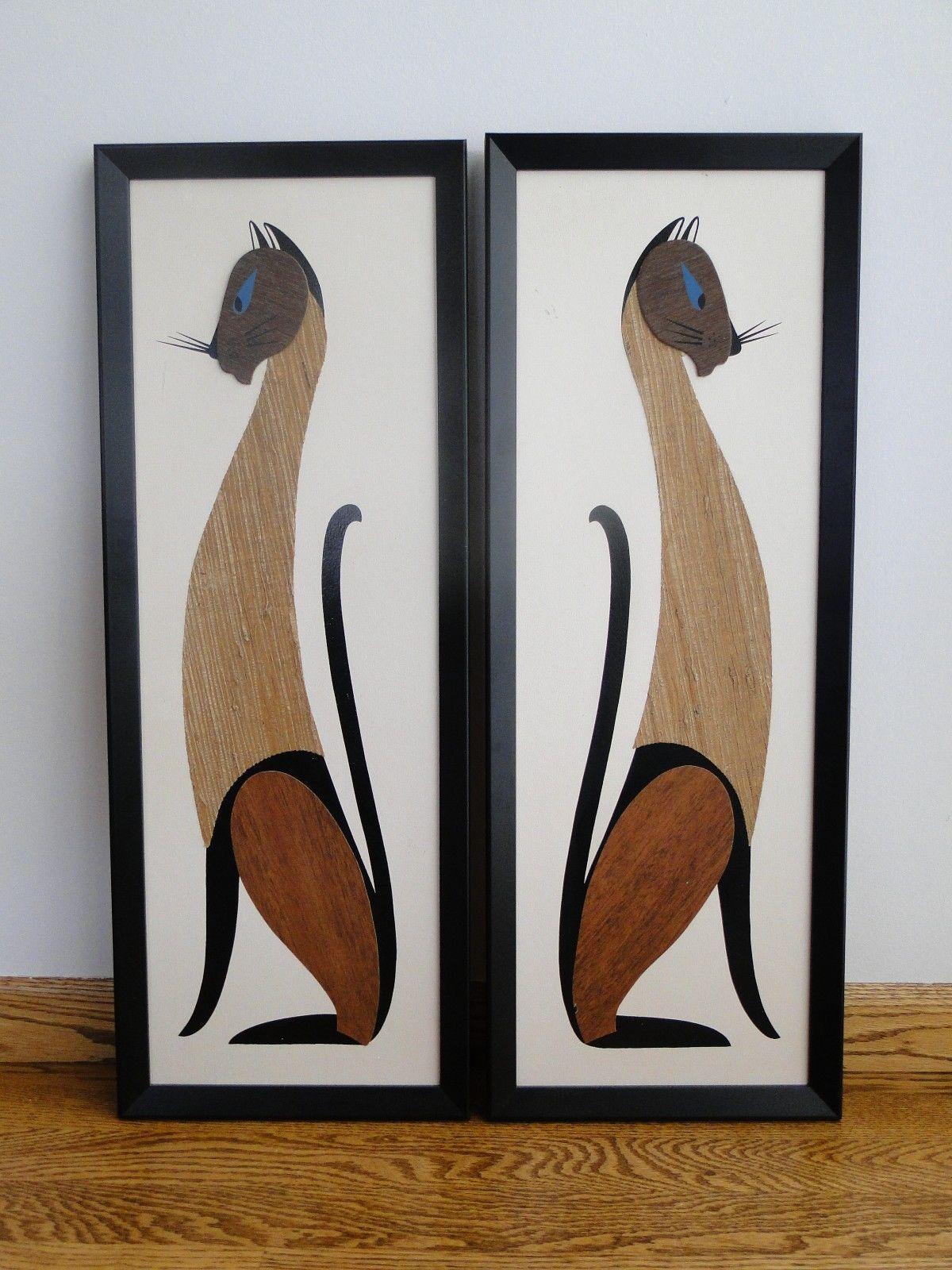 2 Pair Vtg Tiki Mid Century Modern Siamese Cat Wall Art Hanging