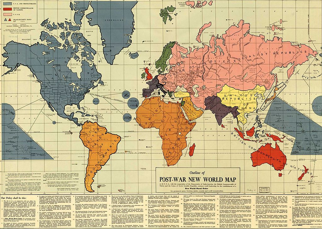 Coming together to form 10 nations north africa division and infamous map of the post war new world moral order constructed shortly before pearl harbour by maurice gomberg it proposing the establishment of a new gumiabroncs Images