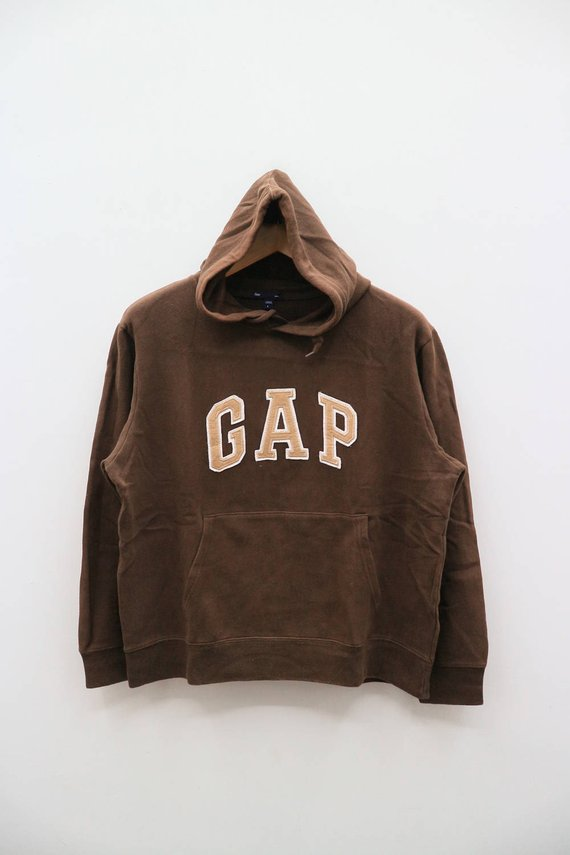 d553dd0199759 Vintage GAP Big Spell Big Logo Streetwear Brown Hoodies Pullover ...
