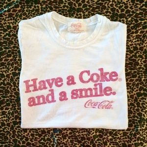 """Tops - """"Have a Coke and a smile"""" White Tee"""