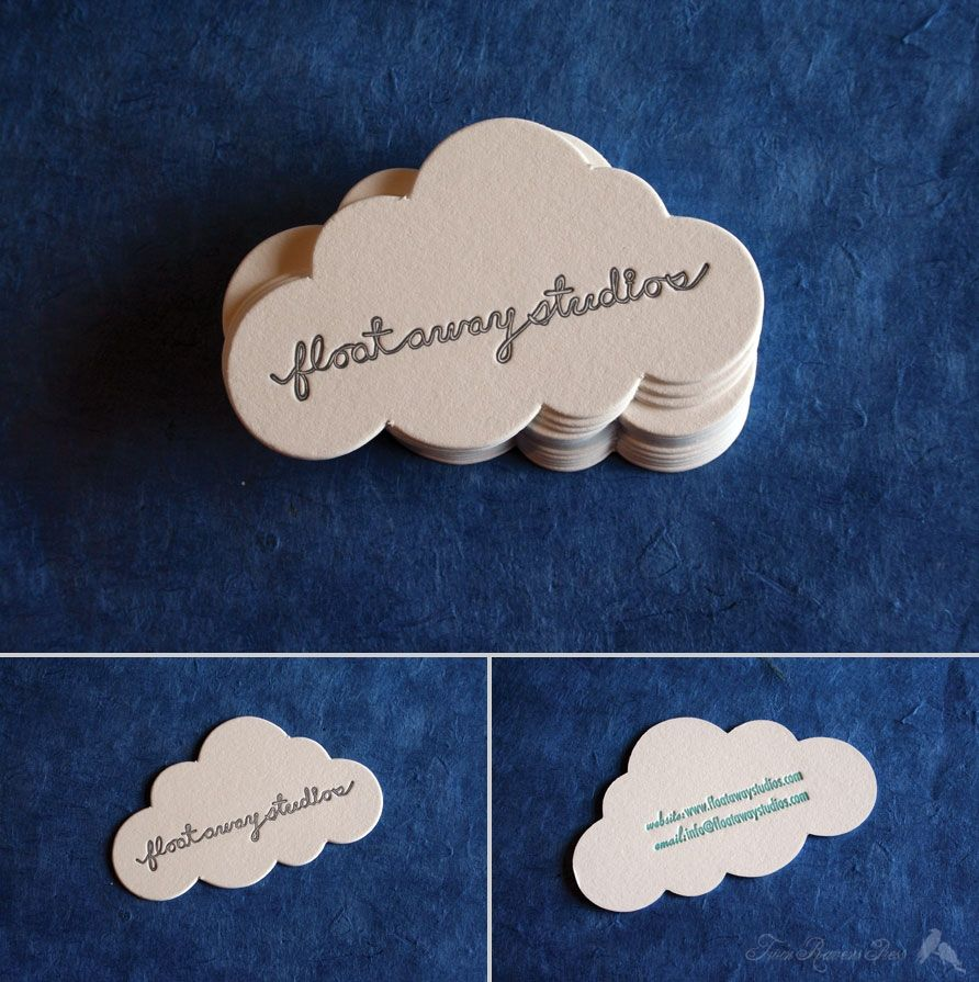 Floataway studios cloud shaped business cards diy branding floataway studios cloud shaped business cards reheart Images