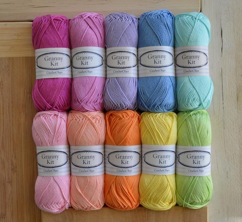Cotton Yarns 10 Colours Granny Kit Ready To Ship By Etsy In 2021 Yarn Colors Yarn Cotton Yarn