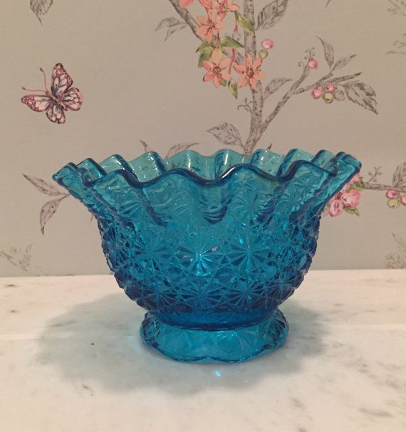 Blue L.E. Smith Glass Bowl with Ruffled Edges by 5thAvenueKitsch